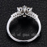 Moissanite Engagement Ring 14K White Gold 3mm & 1.5mm Round  Snow Flower Snowflake - Lord of Gem Rings - 5