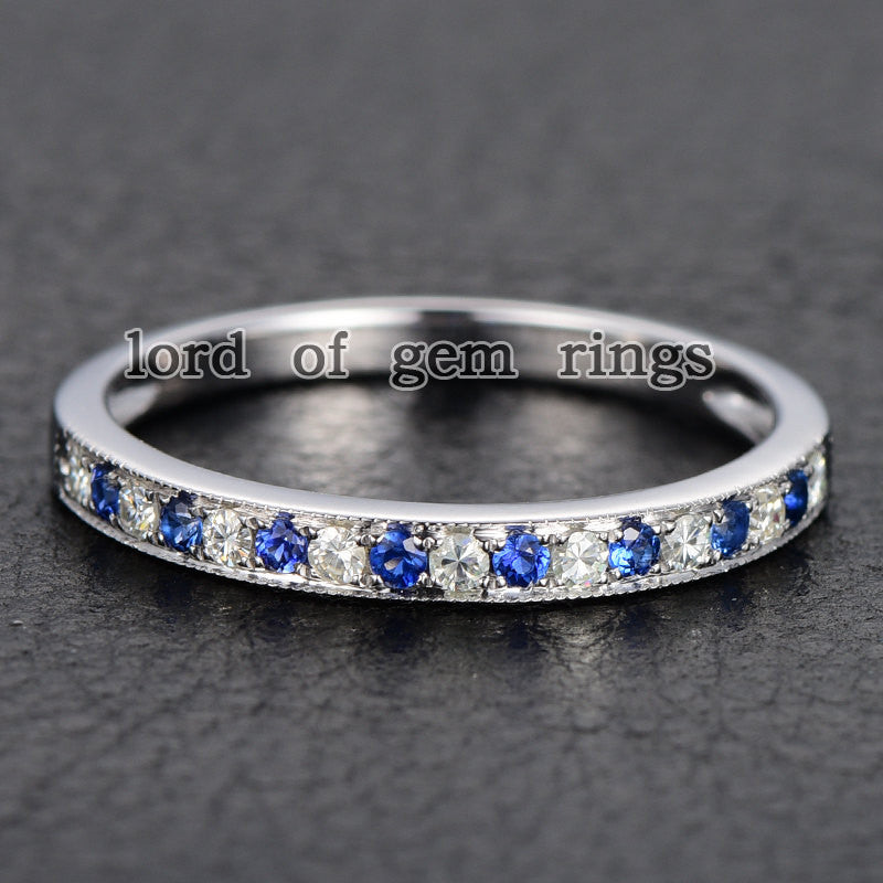 Moissanite Sapphire Wedding Band Half Eternity Anniversary Ring 14K White Gold Milgrain - Lord of Gem Rings - 1