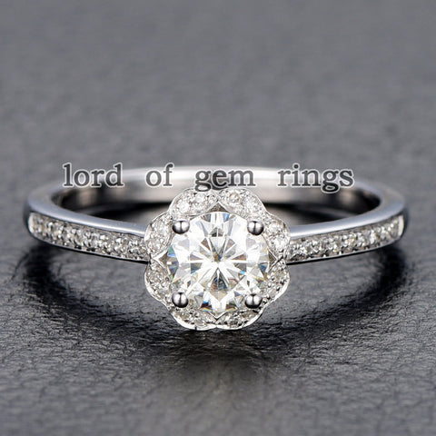 Round Moissanite Engagement Ring Pave Diamond Wedding 14K Rose Gold 6mm Alternative - Lord of Gem Rings - 1