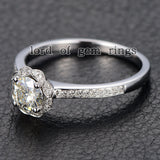 Round Moissanite Engagement Ring Pave Diamond Wedding 14K Rose Gold 6mm Alternative - Lord of Gem Rings - 3