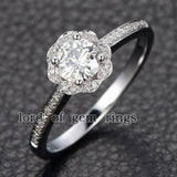 Round Moissanite Engagement Ring Pave Diamond Wedding 14K Rose Gold 6mm Alternative - Lord of Gem Rings - 4