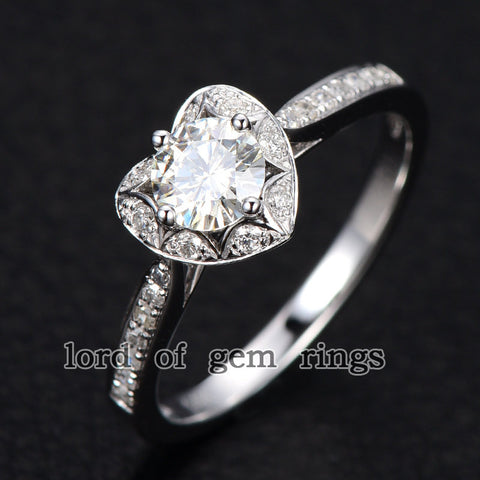Round Moissanite Engagement Ring Diamond Heart Shaped Halo 14K White Gold 5mm - Lord of Gem Rings - 1