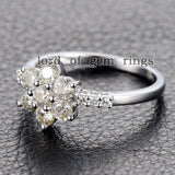 Moissanite Engagement Ring 14K White Gold 3mm & 1.5mm Round  Snow Flower Snowflake - Lord of Gem Rings - 3