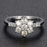 Moissanite Engagement Ring 14K White Gold 3mm & 1.5mm Round  Snow Flower Snowflake - Lord of Gem Rings - 2