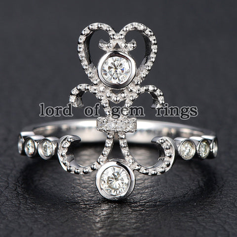Round Moissanite Engagement Ring Diamond 14K White Gold 3mm  Bezel Set - Lord of Gem Rings - 1