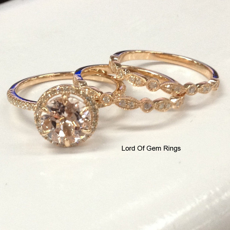 anal_garz,Pale Pink  Round Morganite Engagement Ring Trio Sets Pave Diamond Wedding 14K Rose Gold 8mm Vintage Style - Lord of Gem Rings - 4