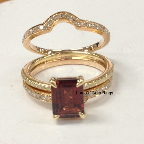 Emerald Cut Red Garnet Engagement Ring Trio Sets Pave Diamond Wedding 14K Yellow Gold 6x8mm - Curved Band - Lord of Gem Rings - 1