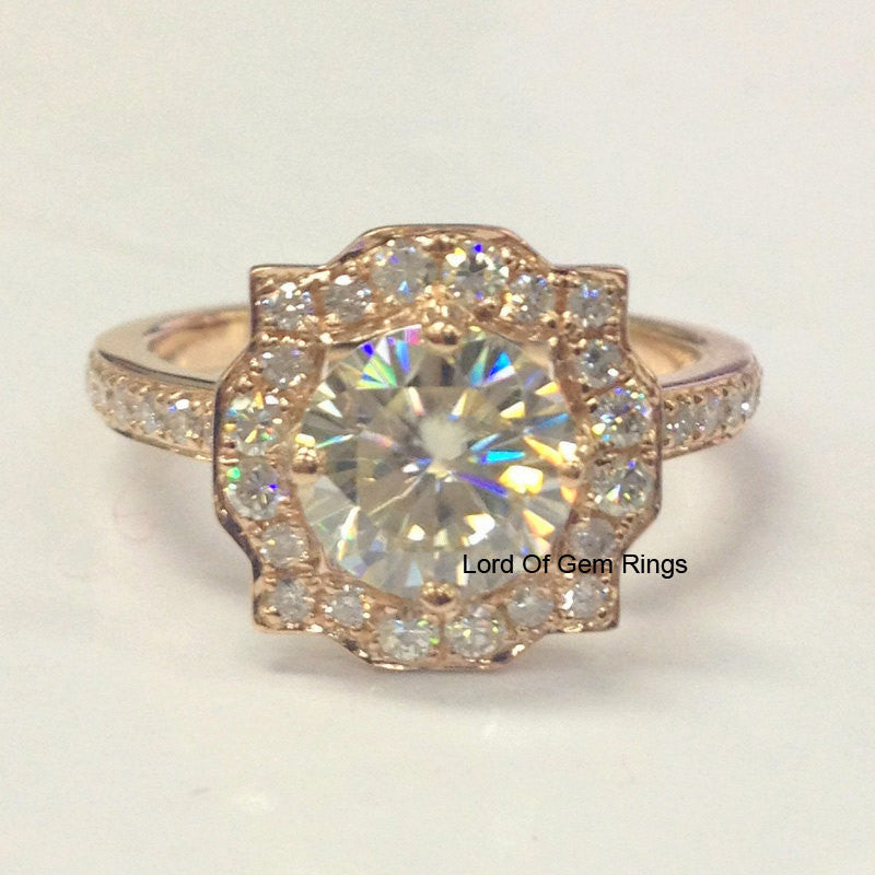 Round Moissanite Engagement Ring Pave Diamond Wedding 14K Rose Gold 7mm Art Deco Vintage - Lord of Gem Rings - 1