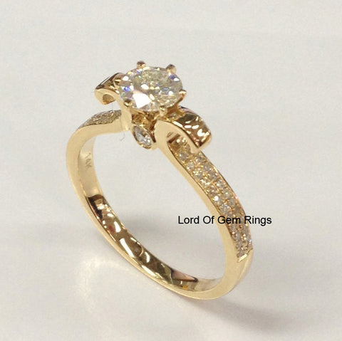 Round Moissanite Engagement Ring Pave Diamond Wedding 14K Yellow Gold 5mm - Lord of Gem Rings - 1