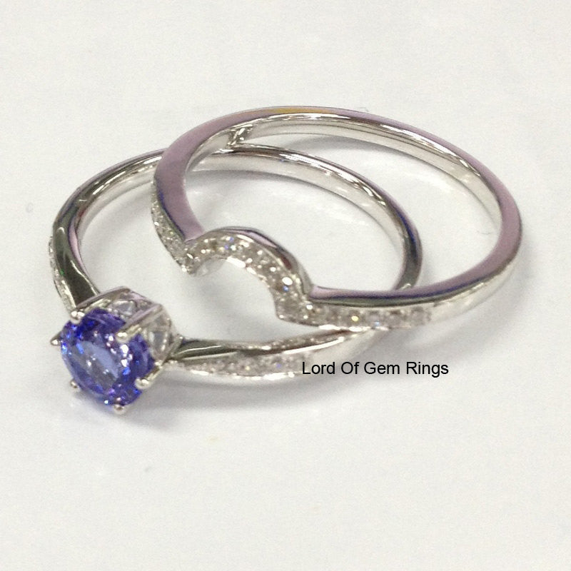 Round Tanzanite  Engagement Ring Sets Pave Diamond Wedding Band 14K White Gold 7mm - Lord of Gem Rings - 1