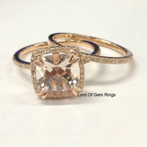 Cushion Morganite Engagement Ring Sets Diamond Wedding 14K Rose Gold 8mm    Lord Of Gem Rings ...