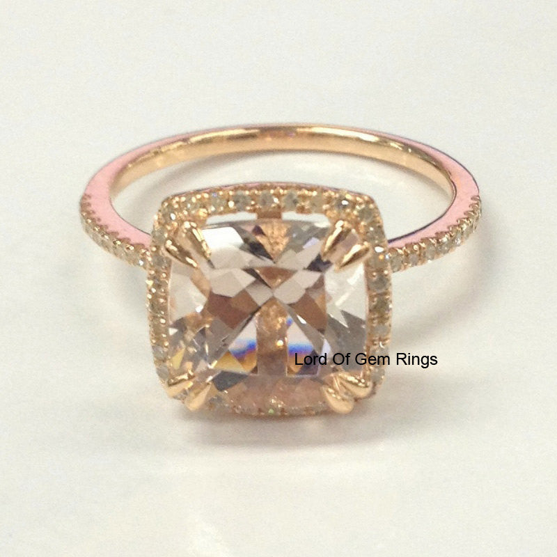 Cushion Morganite Engagement Ring Sets Diamond Wedding 14K Rose Gold 8mm - Lord of Gem Rings - 2