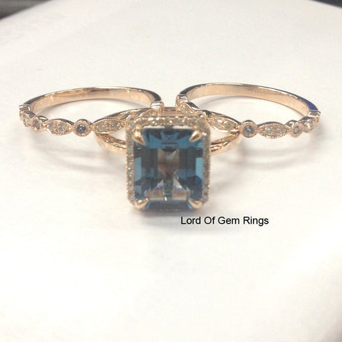 Emerald Cut London Blue Topaz Engagement Ring Trio Sets Pave Diamond Wedding 14K Rose Gold 8x10mm - Lord of Gem Rings - 1