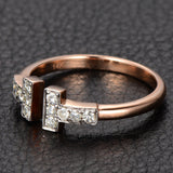 Moissanite Wedding Band Anniversary Ring 14K Rose Gold,Open End - Lord of Gem Rings - 5