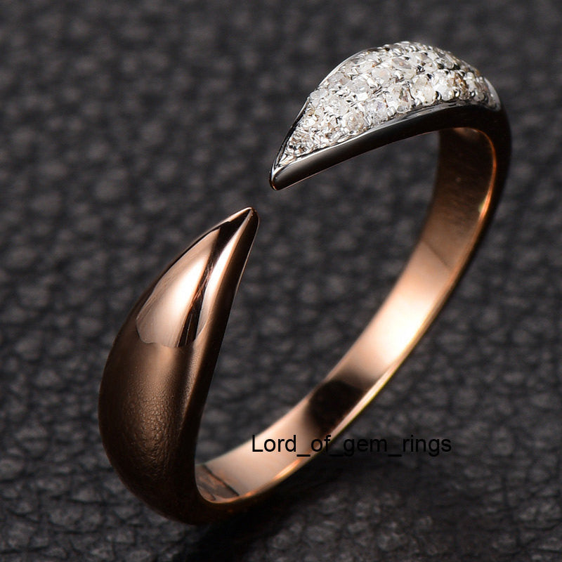 Pave Diamond Wedding Band Anniversary Ring 14K Rose Gold Unique Symmetrical - Lord of Gem Rings - 1