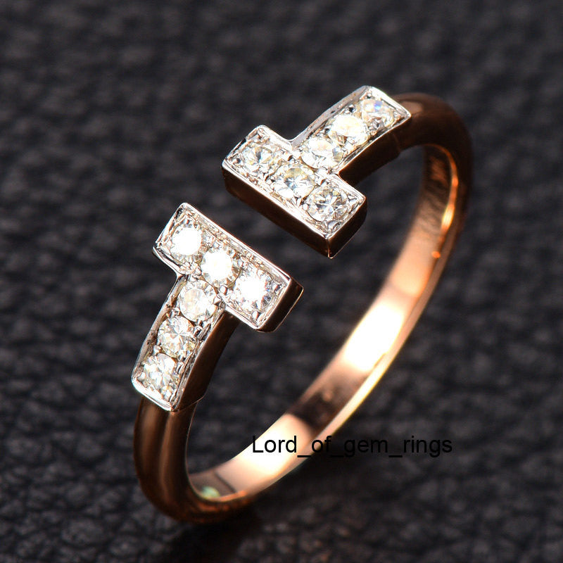 Moissanite Wedding Band Anniversary Ring 14K Rose Gold,Open End - Lord of Gem Rings - 1