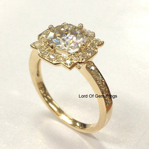 Round Forever Brilliant® Moissanite Engagement Ring Pave Diamond Wedding 14k Yellow Gold 7mm Alternative Engagement - Lord of Gem Rings - 1
