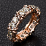 Round Moissanite Engagement Ring Eternity Birthstone 14K Rose Gold 3mm - Lord of Gem Rings - 2