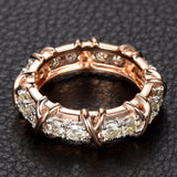 Round Moissanite Engagement Ring Eternity Birthstone 14K Rose Gold 3mm - Lord of Gem Rings - 4