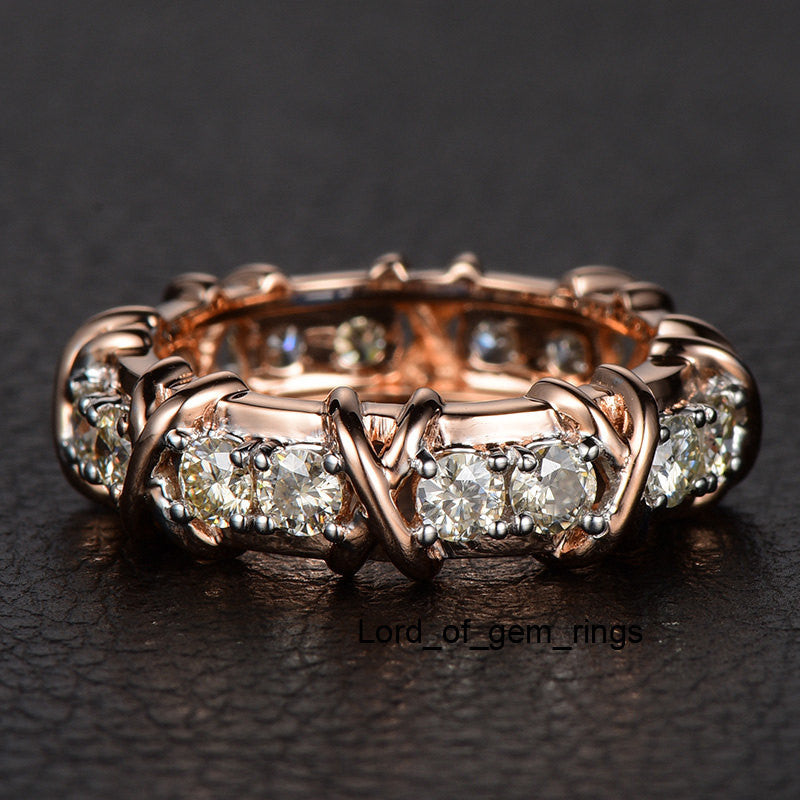 Round Moissanite Engagement Ring Eternity Birthstone 14K Rose Gold 3mm - Lord of Gem Rings - 1