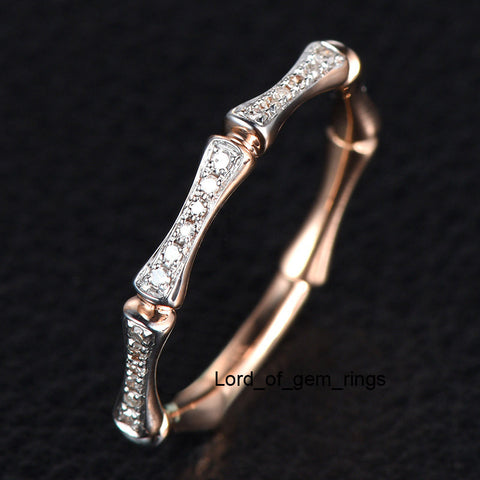 Diamond Wedding Band Eternity Anniversary Ring 14K Rose Gold - Lord of Gem Rings - 1