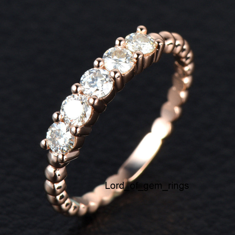 Moissanite Wedding Band Anniversary Ring 14K Rose Gold 5 Stones 3mm Round Unique - Lord of Gem Rings - 1