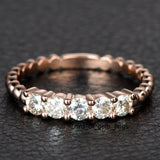 Moissanite Wedding Band Anniversary Ring 14K Rose Gold 5 Stones 3mm Round Unique - Lord of Gem Rings - 2