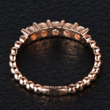 Moissanite Wedding Band Anniversary Ring 14K Rose Gold 5 Stones 3mm Round Unique - Lord of Gem Rings - 5