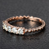 Moissanite Wedding Band Anniversary Ring 14K Rose Gold 5 Stones 3mm Round Unique - Lord of Gem Rings - 4