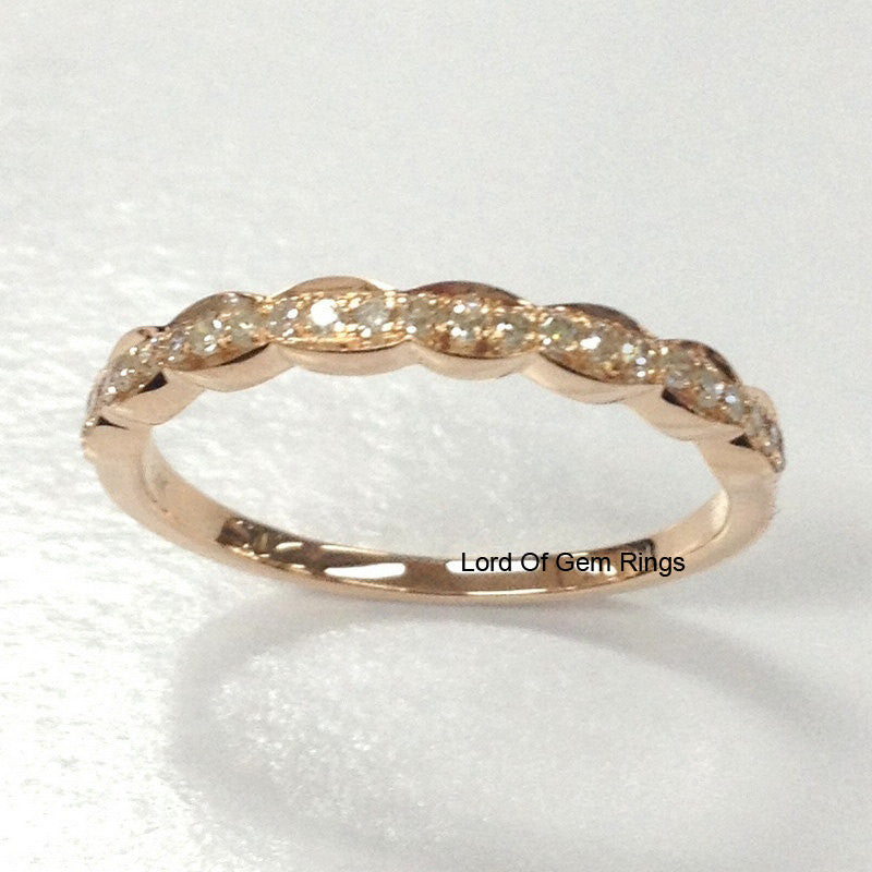Diamond Wedding Band Half Eternity Anniversary Ring 14k Rose Gold Art Deco Antique - Lord of Gem Rings - 1