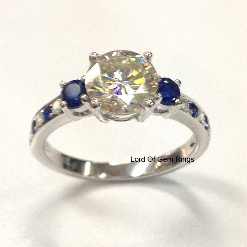 Reserved for Megan Round Moissanite Engagement Ring Accent Sapphire Moissanite 14K White Gold Forever Brilliant - Lord of Gem Rings - 1