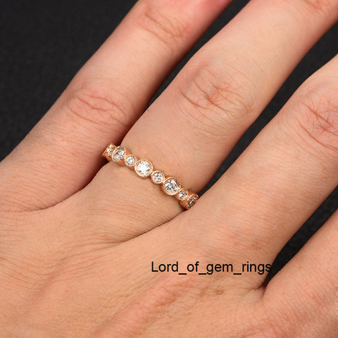 wb bright pave white bead gold platinum diamond eternity pav and in band wedding set vintage milgrain bands