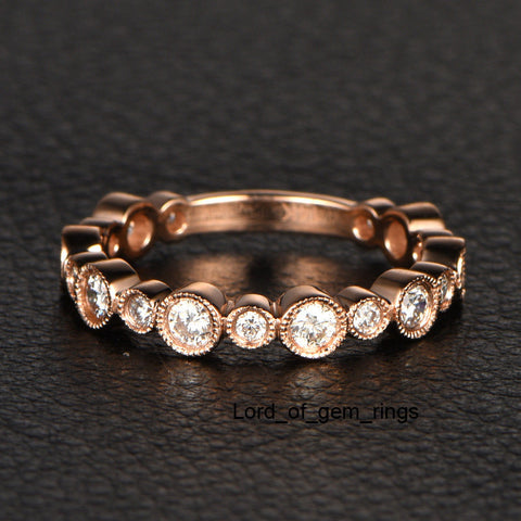 Reserved for nthnpo.efmu1lh exchange  Bezel  Diamond Wedding Eternity Ring 18K Rose Gold - Lord of Gem Rings - 1