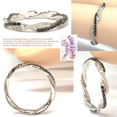 French Pave Clear/Black Diamond Wedding Band Infinite Love Eternity Ring 14K White Gold