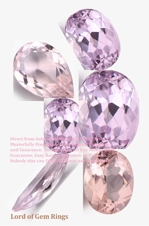 Morganite loose stones, for custom  Engagement or Wedding Ring with accent diamonds or gemstones - Lord of Gem Rings - 1