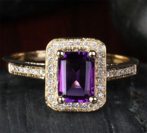 Reserved for ITU Emerald cut Amethyst Engagement Ring 14K Yellow Gold