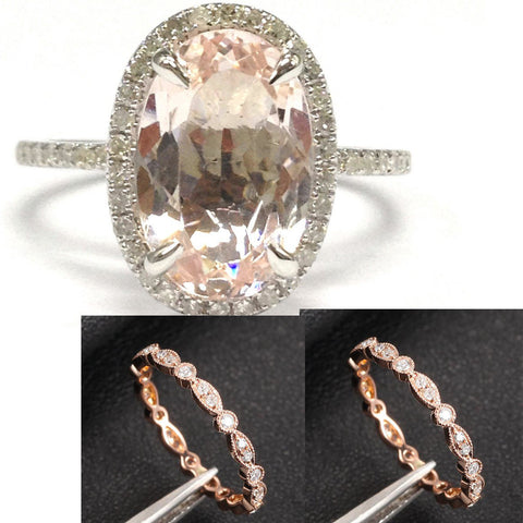 Reserved for GY- 8x12mm Oval Morganite Diamond Halo Engagement Ring & Art Deco Diamond Eternity Bands 14K Rose Gold