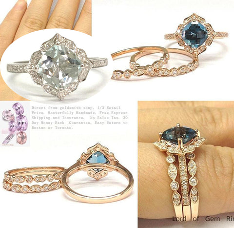 Reserved for John Cushion Aquamarine Ring Trio Set Art Deco Diamond Band14K Rose Gold,8mm