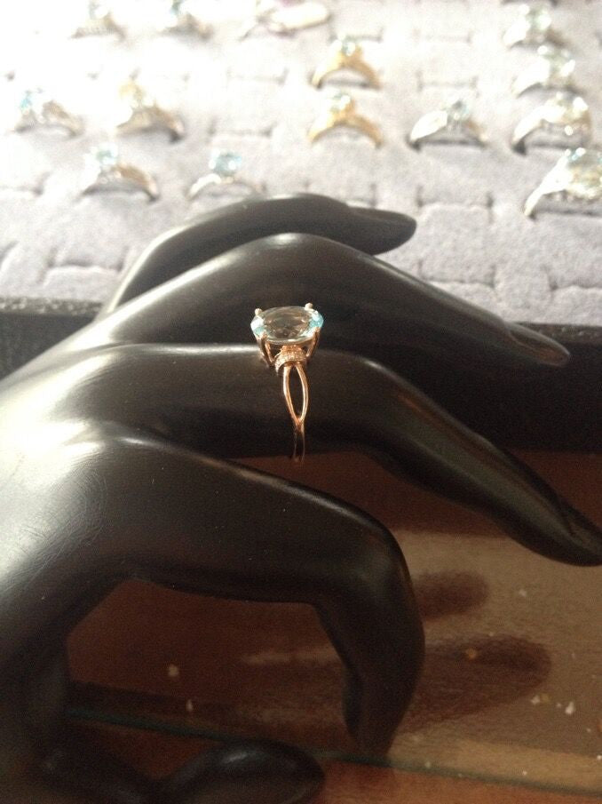 Ready to ship 6x8mm  Aquamarine engagement ring 14K rose gold size 7 - Lord of Gem Rings - 1