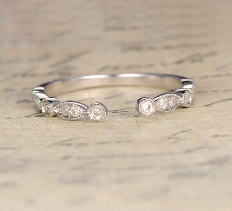 Reserved for AAA: Diamond Wedding Band Half Eternity Anniversary Ring 14K White Gold Open End