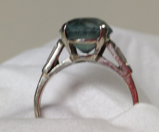 Reserved for Lisa Custom Round Aquamarine Ring Baguette Diamond 18K White Gold - Lord of Gem Rings - 1