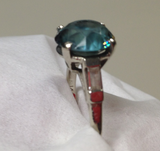 Reserved for Lisa Custom Round Aquamarine Ring Baguette Diamond 18K White Gold - Lord of Gem Rings - 3