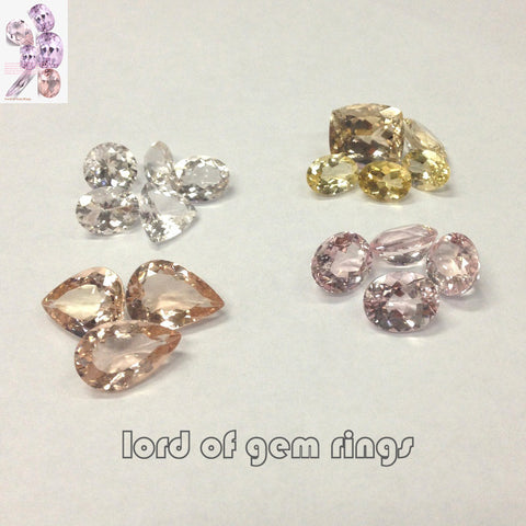 Morganite colors, for cusotm-making Diamond Engagement or Wedding Ring - Lord of Gem Rings - 1