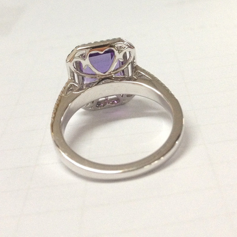 Reserved for Luigi 3rd payment, Custom  Emerald Cut Amethyst Engagement Ring 14k White Gold