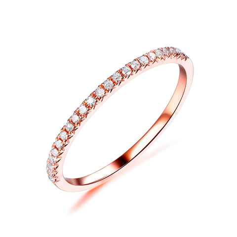 French V Pave Diamond Wedding Band Half Eternity Anniversary Ring 14K Rose Gold  H/SI