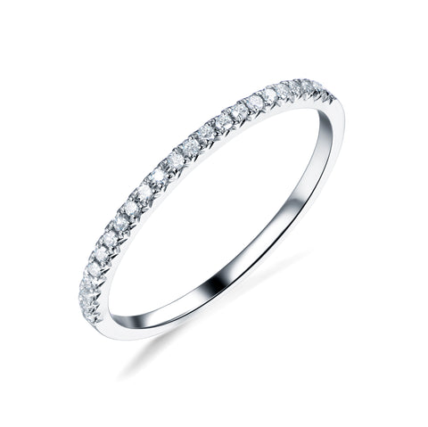 French V Pave Diamond Wedding Band Half Eternity Anniversary Ring 14K White Gold  H/SI