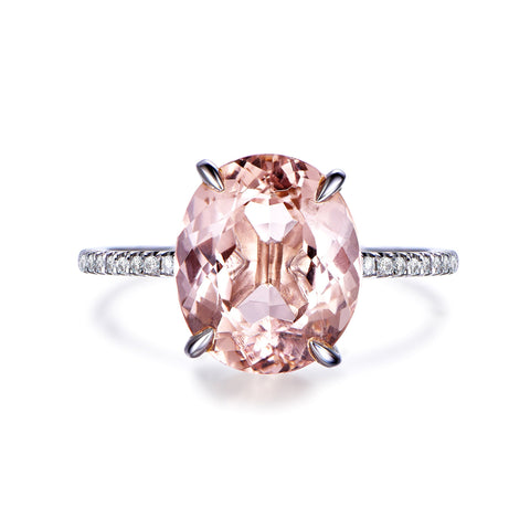 Reserved for GY: Morganite Engagement Ring oval 14K White Gold 9x11mm