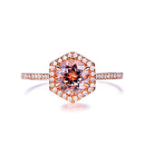Round Morganite Engagement Ring Diamond Hexagon Halo 14k Rose Gold 7mm