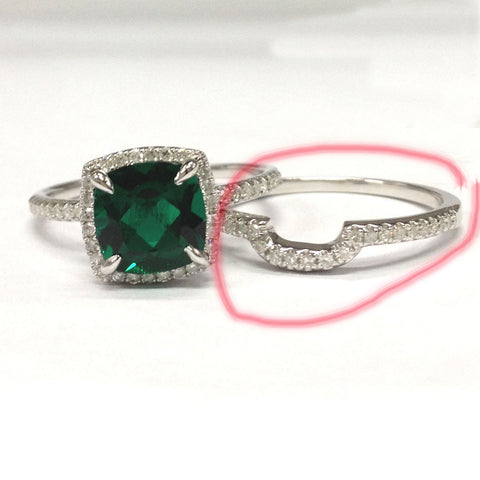Reserved for hmearing1- 2nd Matching Band for Cushion Emerald Engagement Ring Bridal Sets Contour Diamond Band 14K White Gold 8mm