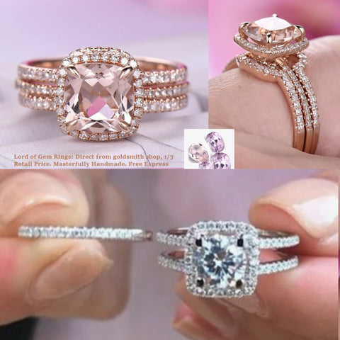 Reserved for Mel Cushion Morganite Wedding Ring Set Indside Diamond Band 14K Rose Gold 7mm